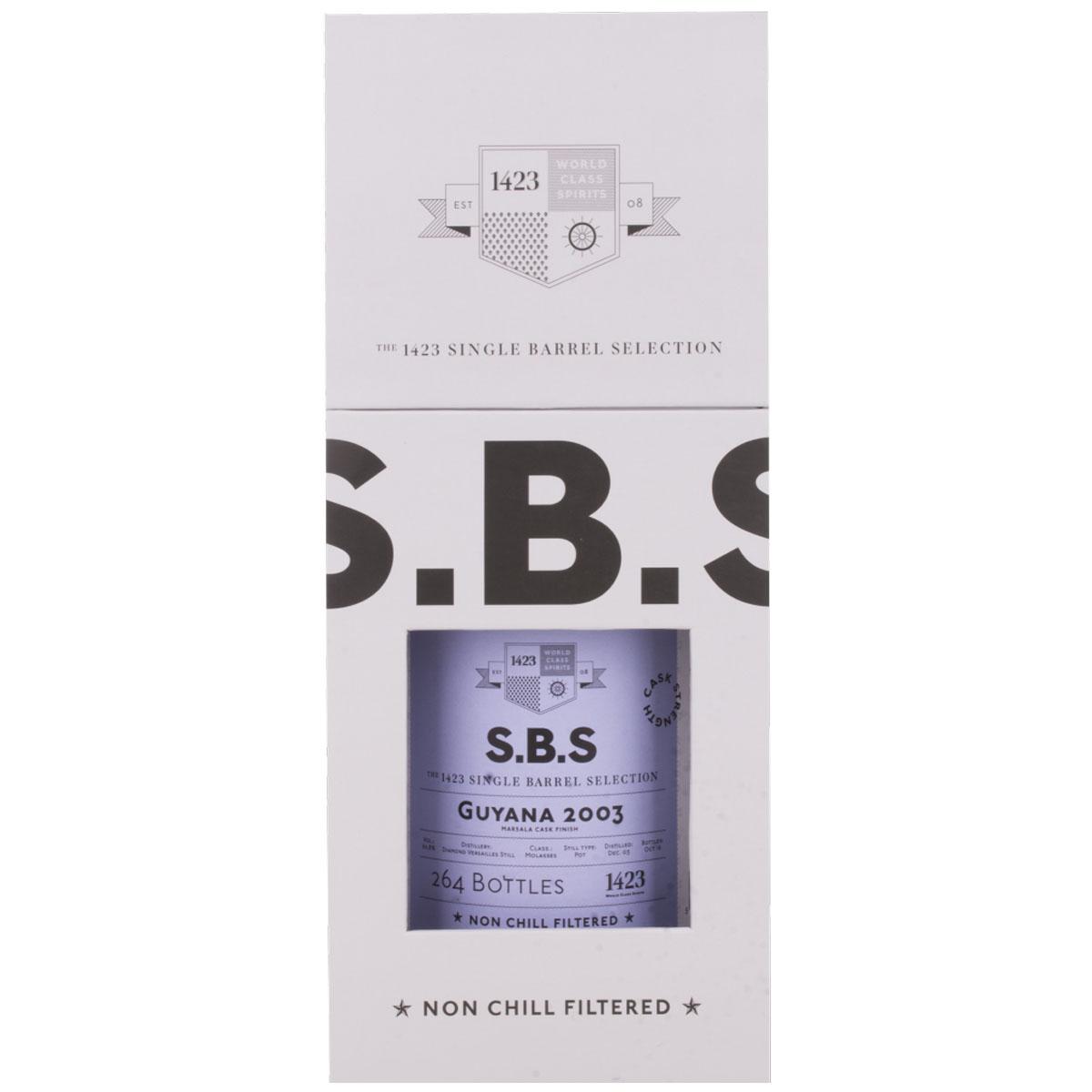 1423 S.B.S GUYANA Diamond Cask Strength Rum + GB 2003